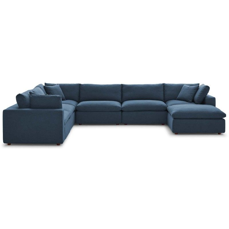 Commix Down Filled Overstuffed 7 Piece Sectional Sofa Set Azure
