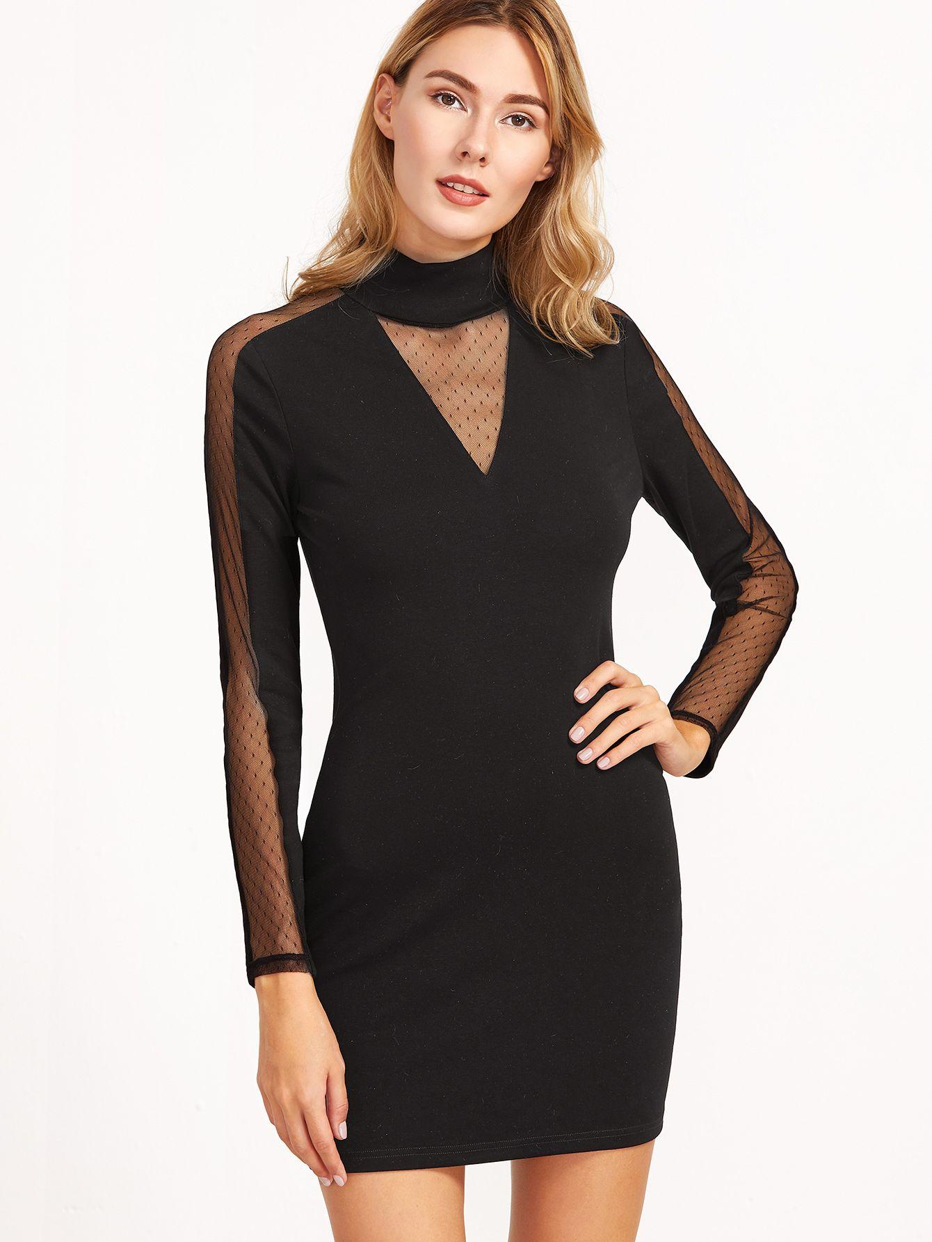 837a47afdf Vestido ajustado con aplicación de malla y cuello alto-(Sheinside ...