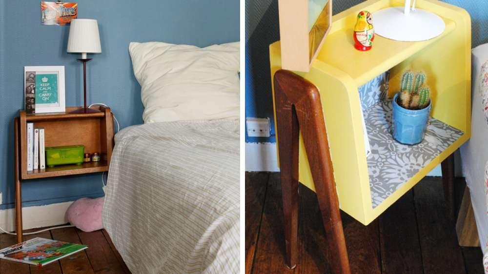 table chevet peinture jaune flashy Rénovation brocante Pinterest