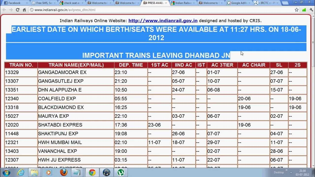 Check Seat Availability Indian Train Indian Railways Passenger Enquiry