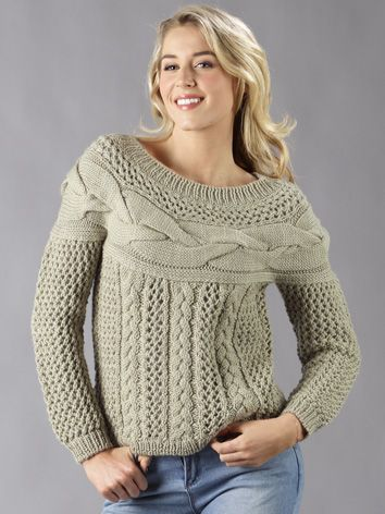 Pure Wool 8ply Lace Cable Yoke Jumper Free Pattern I Want This
