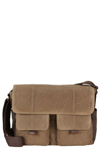 Fossil  Wagner  Waxed Canvas Messenger Bag available at  Nordstrom ...