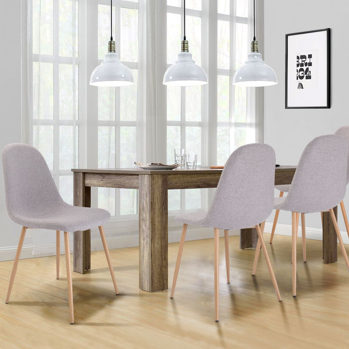 Costway Set Of 4 Modern Dining Accent Side Chairs Wood Legs Home