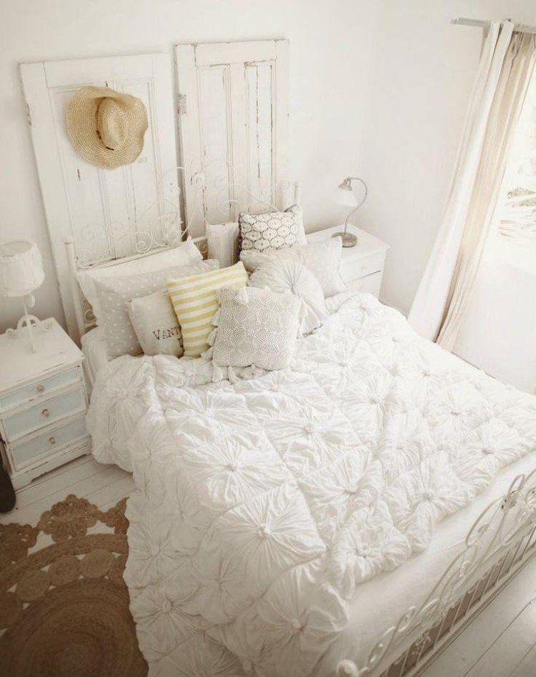 Chambre boh me atmosph re romantique en blanc shabby Chambre boheme chic
