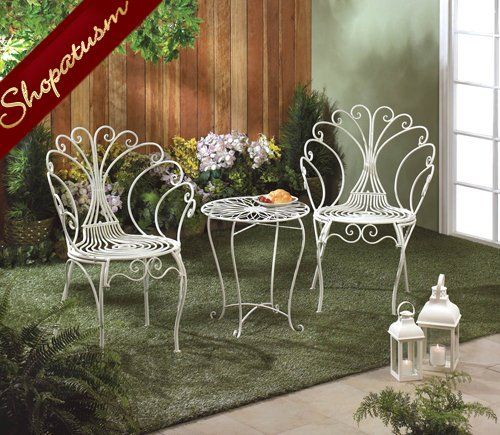 Peacock White Metal Bistro Set Garden Table And Chairs Outdoor