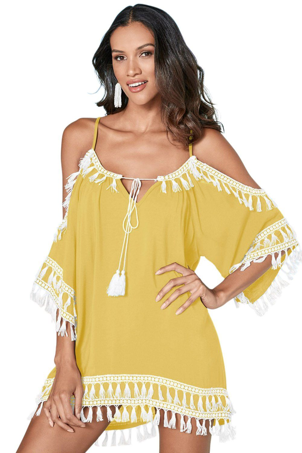 43ce55a3eaa Yellow Boho Tassel Tunic Cover up in 2019 | HOT! Swimsuits-Bikinis ...