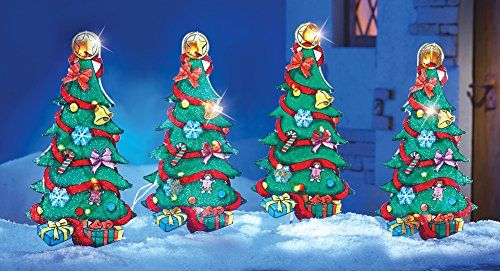 Lighted Christmas Tree Outdoor Garden Stakes - 4 Pc -   www