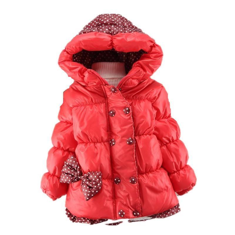 94f28c0ac New 2016 Children Coat Bow Polka Dot Baby Jacket Clothes Winter ...