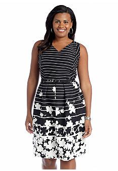0506f502288 Julian Taylor Plus Size Sleeveless Printed Fit-and-Flare Belted Dress