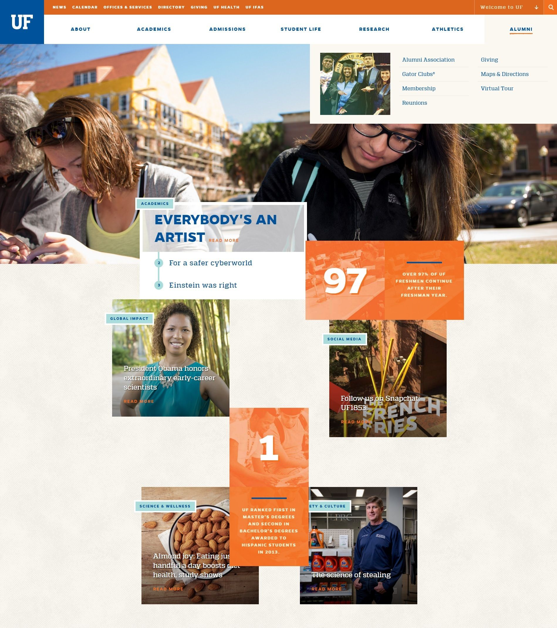 Uf Has One Of The Better University Site Designs I Ve Seen Webdesign Graphicdesign University Of Florida Best University University