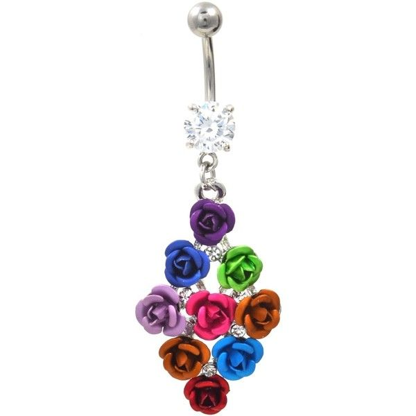 Bouquet of Multi Colored Roses Fancy Belly Ring ($9.99) ❤ liked on Polyvore featuring jewelry, rings, flower jewelry, multi color rings, colorful rings, rose flower jewelry and flower navel ring
