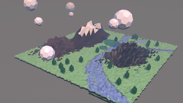 Polygonal Landscape 3d Model Max C4d Obj 3ds Fbx Lwo Stl