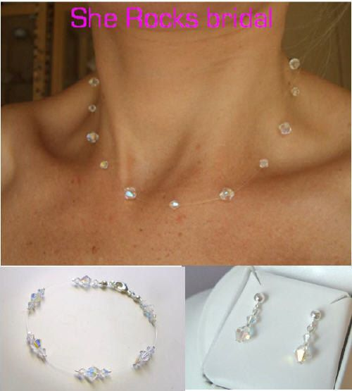 Swarovski Crystal Illusion Bridal jewelry set Ab wedding jewellery