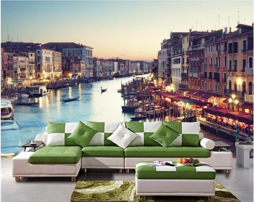 Custom Photo 3d Wallpaper Venice Night View City Background Wall Scenery Room Painting 3d Wall Murals Wall Custom Photo Wallpaper Paper Room Decor Wall Scenery