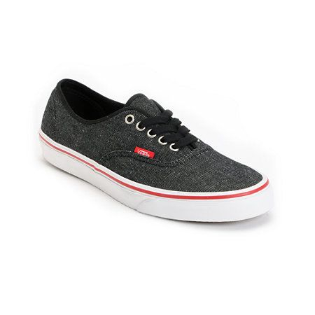 7bba33448a Vans Authentic Black Denim   Red Shoe at Zumiez   PDP