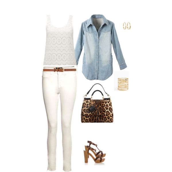 """""""Spring outfit - Chambray Shirt, White Jeans"""" by chicohio on Polyvore"""