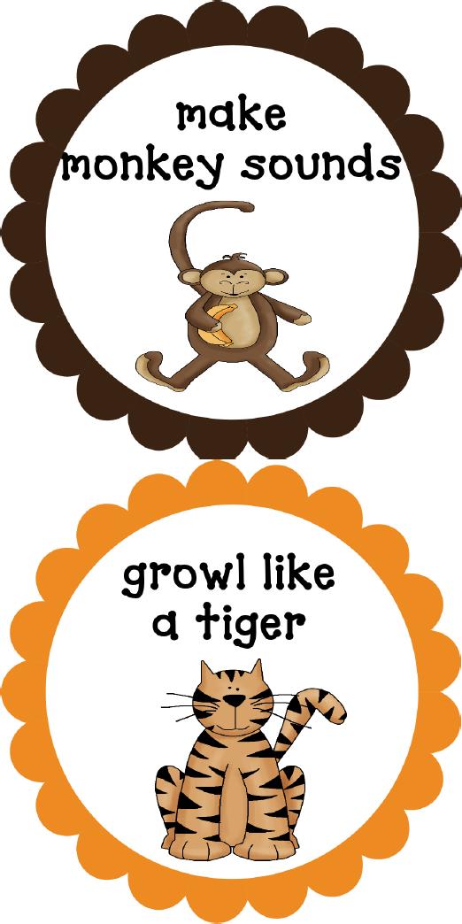 Jungle Action Cards Jungle animals preschool, Jungle