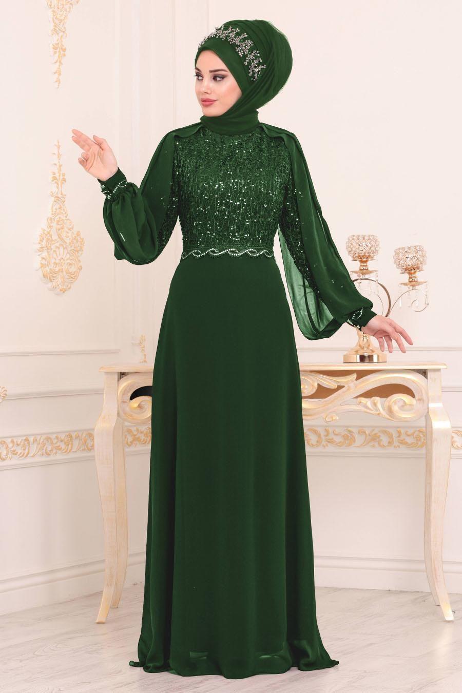 Nayla Collection Pul Detayli Yesil Tesettur Abiye Elbise 25736y Tesetturisland Com Elbiseler Aksamustu Giysileri Musluman Modasi