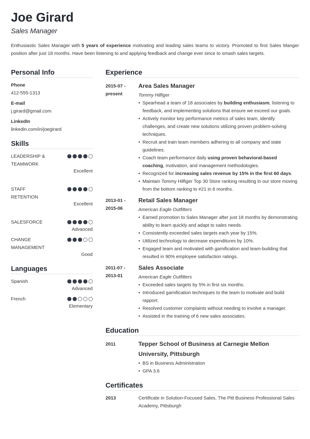 sales manager resume example template simple in 2020