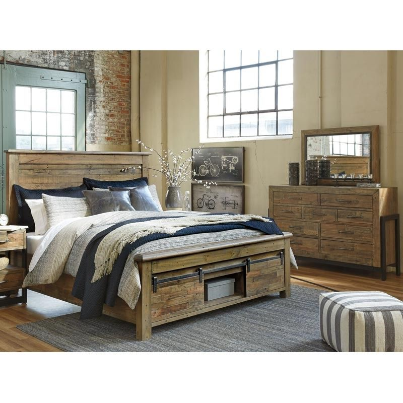 The Sommerford 5 Piece King Storage Bedroom From Ashley Furniture Comes In  A Brown Finish On Durable Solid Pine With A Light Graywash That Highlights  The ...