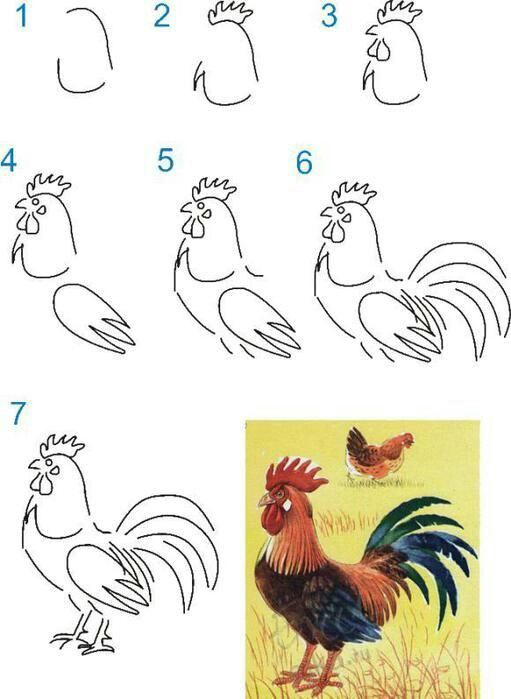 rooster easy drawing lessons for kids crafts ideas crafts for kids
