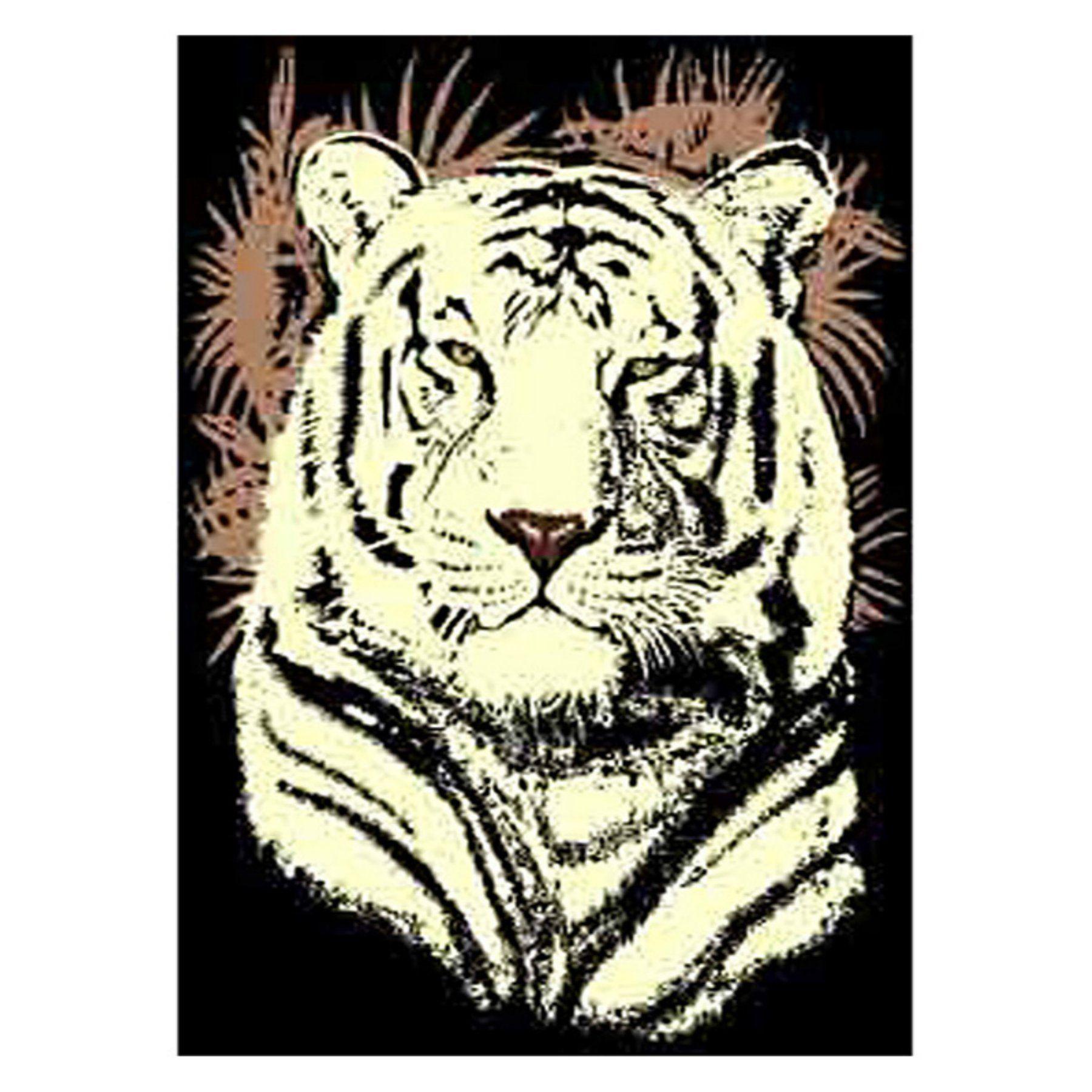 DonnieAnn AFWTTIG African Adventure White Tiger Head Area Rug - Black - AFWTTIG