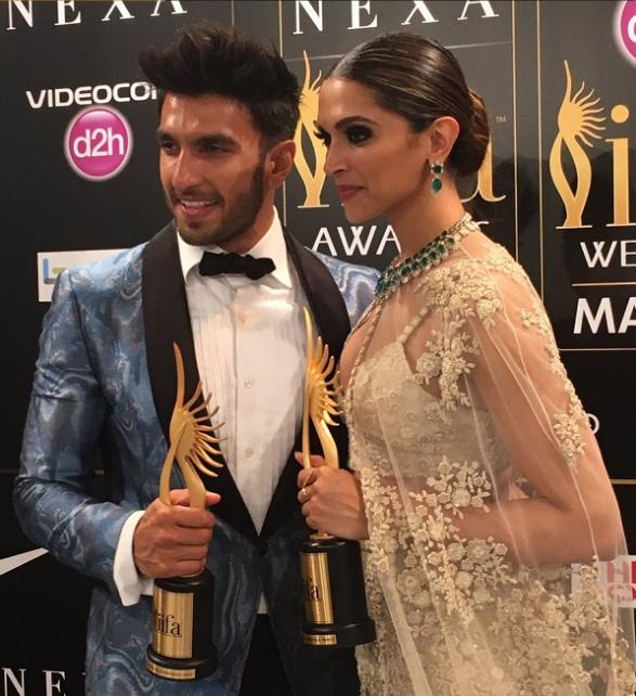 Iifa 2016 Bajirao Mastani Trio Ranveer Singh Deepika Padukone And Priyanka Chopra Win Big On The Awards Night Deepika Padukone Bollywood Couples Bollywood