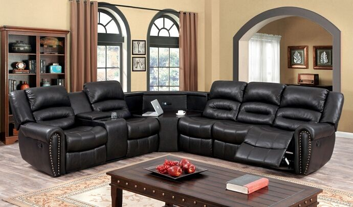 Cm6987 3 Pc Wales Dark Brown Breathable Leatherette Sectional Sofa With Recliners And Corner Table Wedge Sectional Sofa With Recliner Furniture Of America Leather Reclining Sectional