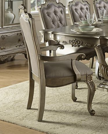 Incredible Topline Home Furnishings Old World European Arm Chair Silver Creativecarmelina Interior Chair Design Creativecarmelinacom