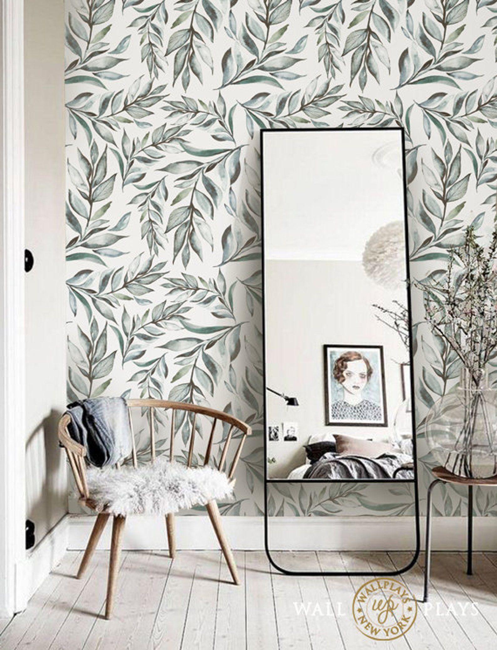 Boho Leaves Watercolor Removable Wallpaper Peel & Stick