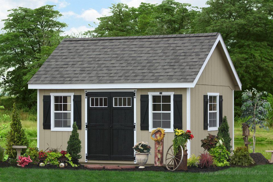 Beige shed 10 e6209 10x14 premier garden shed durat for Garden shed january sale