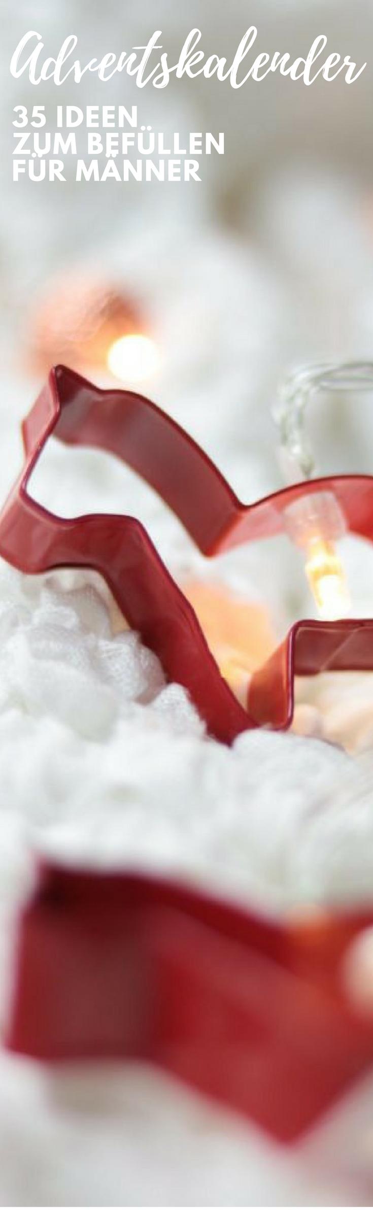Adventskalender für Erwachsene? Manchmal kann es dabei ganz schön schwierig werden genug Kleinigkeiten zum Befüllen des Adventskalenders zu finden. Mit dieses 35 Ideen zu Befüllen für Männer findest du neue Inspirationen #advendtskalender #befüllen #diy #geschenke #weihnachten