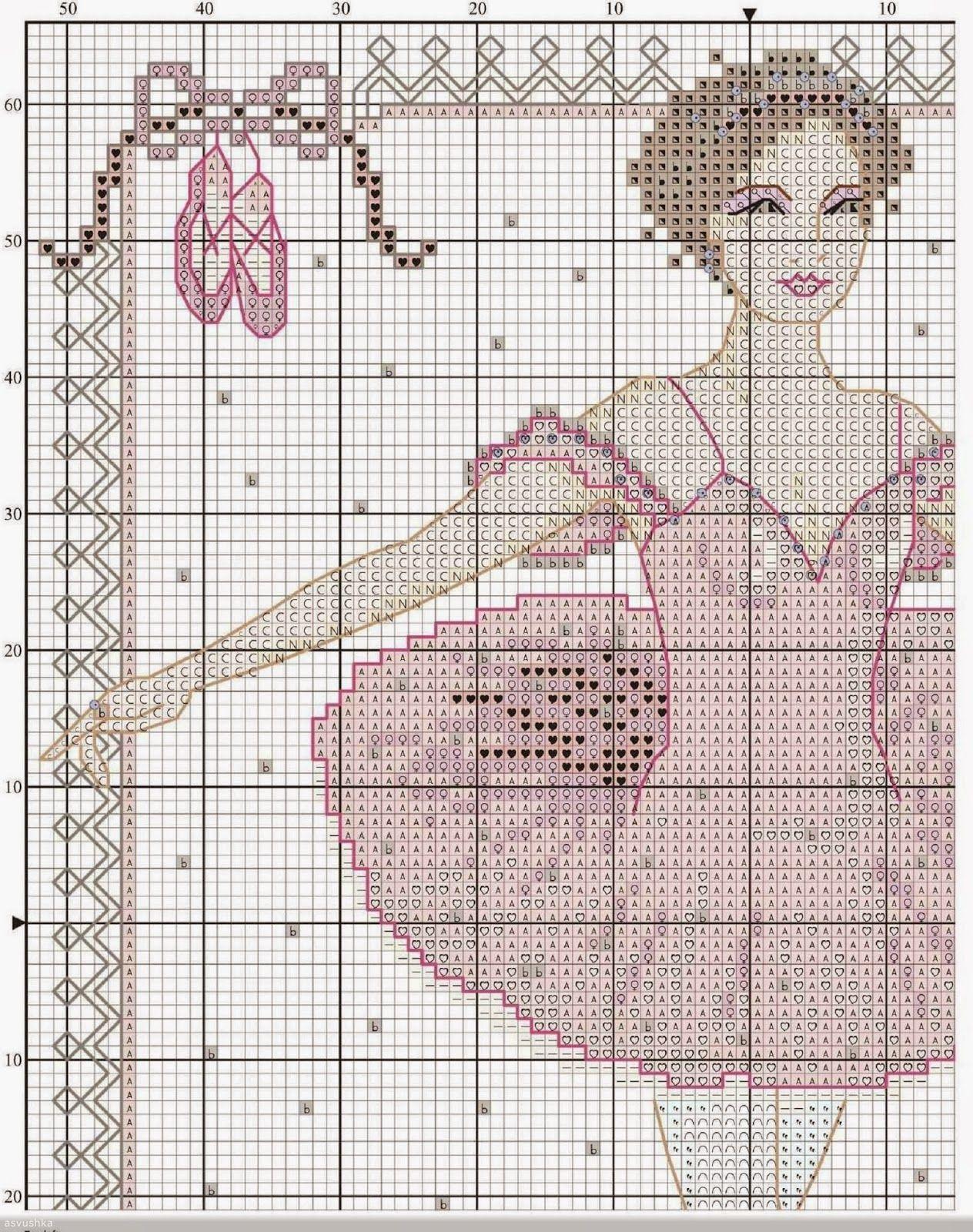 Schema punto croce danza 2 hobby lavori femminili for Ricamo punto croce schemi gratis