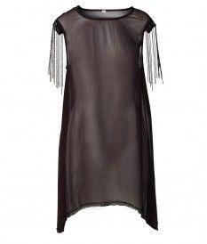Show Dress Beaded Fringe Dress in Rouge Noir