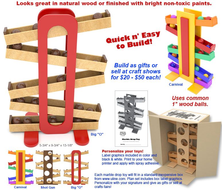 Quick N Easy Wood Marble Drop Toy Plan Set Slp Toys Marble