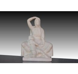 Lady and child art deco marble french school