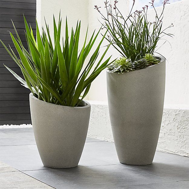 Slant Cement Planters Crate And Barrel Modern Planters Outdoor Planters Outdoor Planters