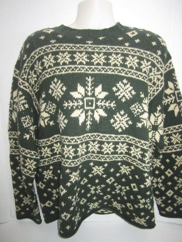 Sz M J Crew Mens Sweater Fair Isle Nordic Snowflake Forest Green ...