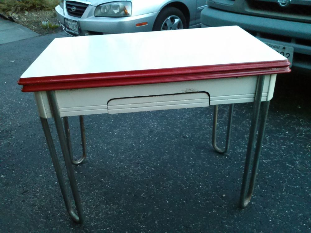 Vintage Chrome Frame Porcelain Enamel Top Kitchen Table W