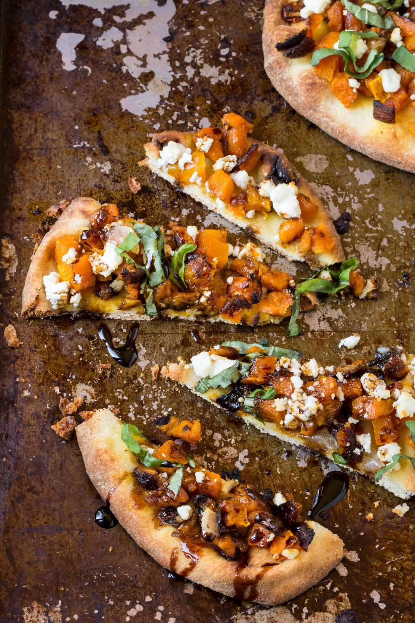 Roasted Butternut Squash Naan Pizza – Garnish with Lemon