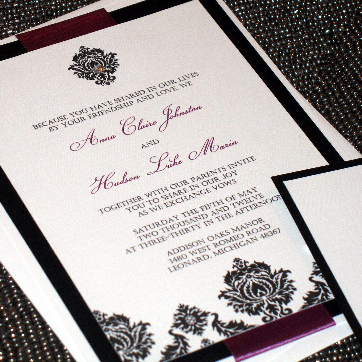 Diamond Damask Wedding Invitation with by ThePerfectGiftShop | Black ...