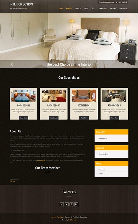 Free Interior design WordPress Theme for interior architecture