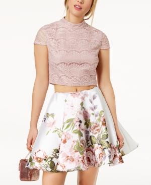 City Studios Juniors' 2 Pc. Lace & Floral Print Dress