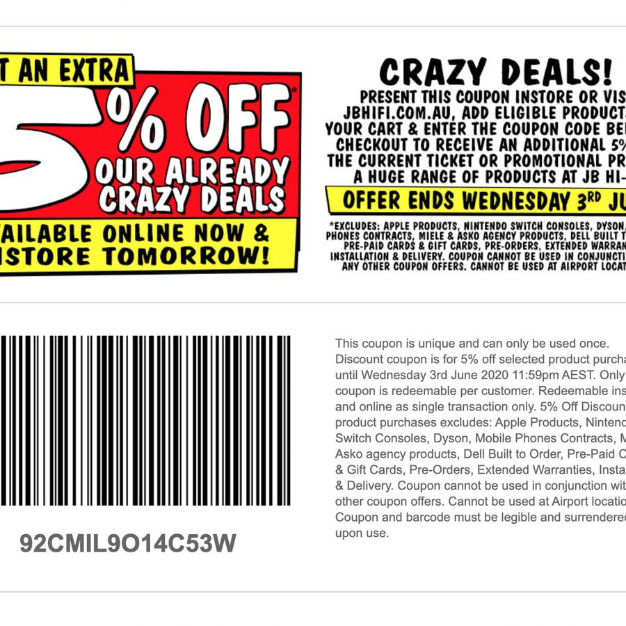 5 off InStore & Online (Exclusions Apply) JB HiFi in