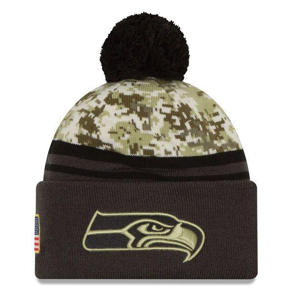 ba955749ede Seattle Seahawks New Era Camo Graphite Salute To Service Sideline Pom Knit  Hat