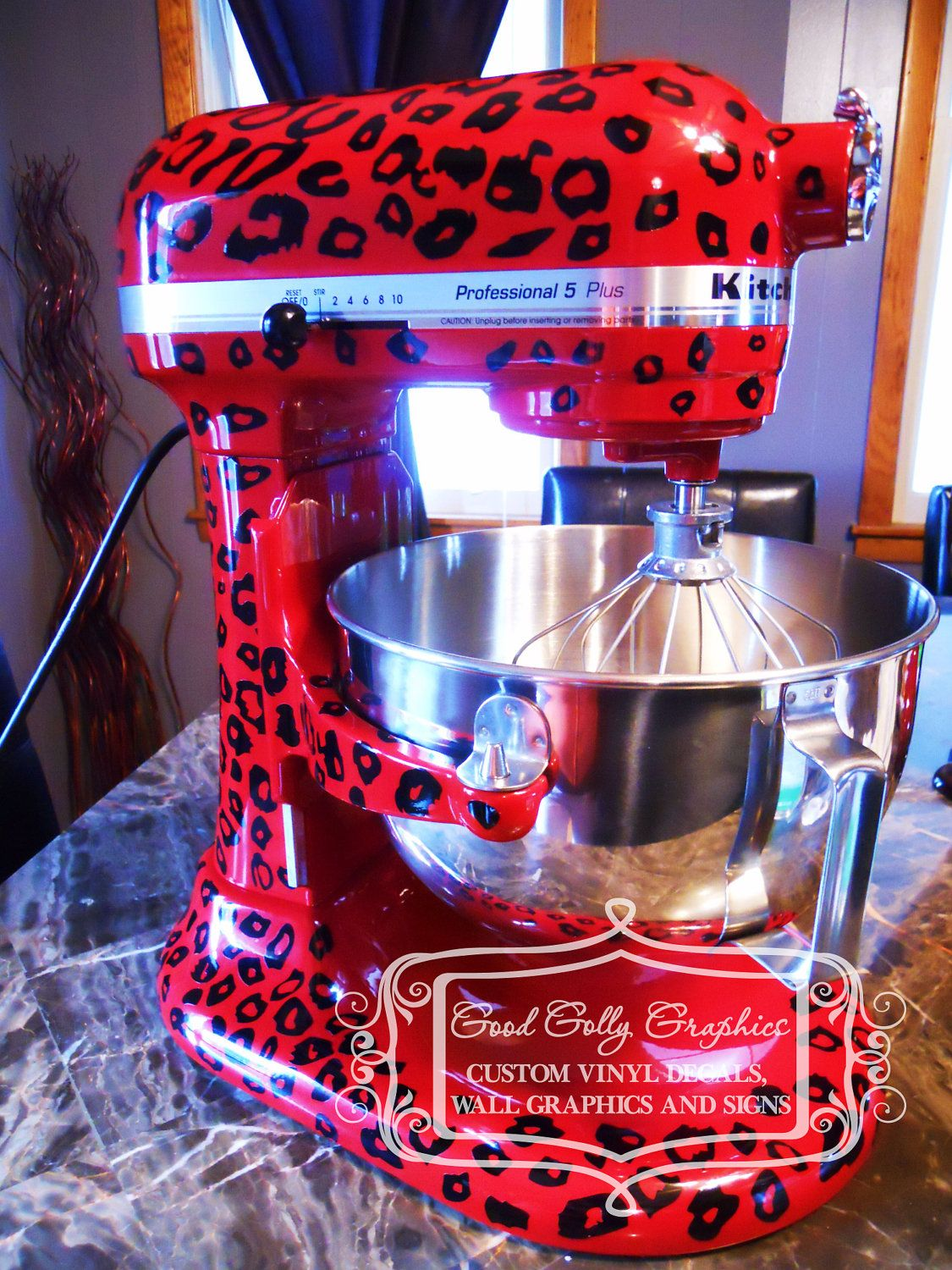 Kitchen mixer vinyl decal LEOPARD PRINT decal nothin like a sassy kitchen aid !