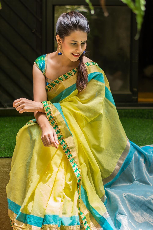 c9ca7f67597c4 Lemon yellow chanderi cotton saree with blue and gold border ...