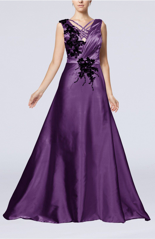 Violet wedding dress classic church sleeveless zip up court train