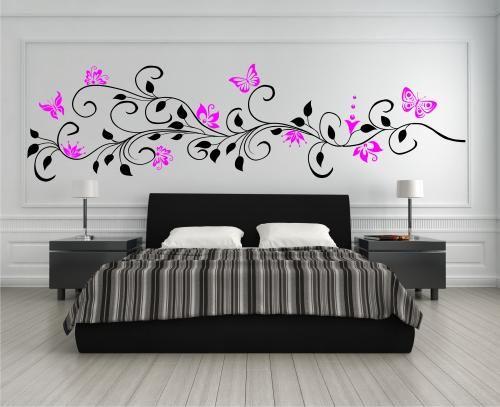 Simple  farbig Wandtattoo Blumenranke mit Schmetterlinge Ranke Blumen XXL Deko Sticker eBay