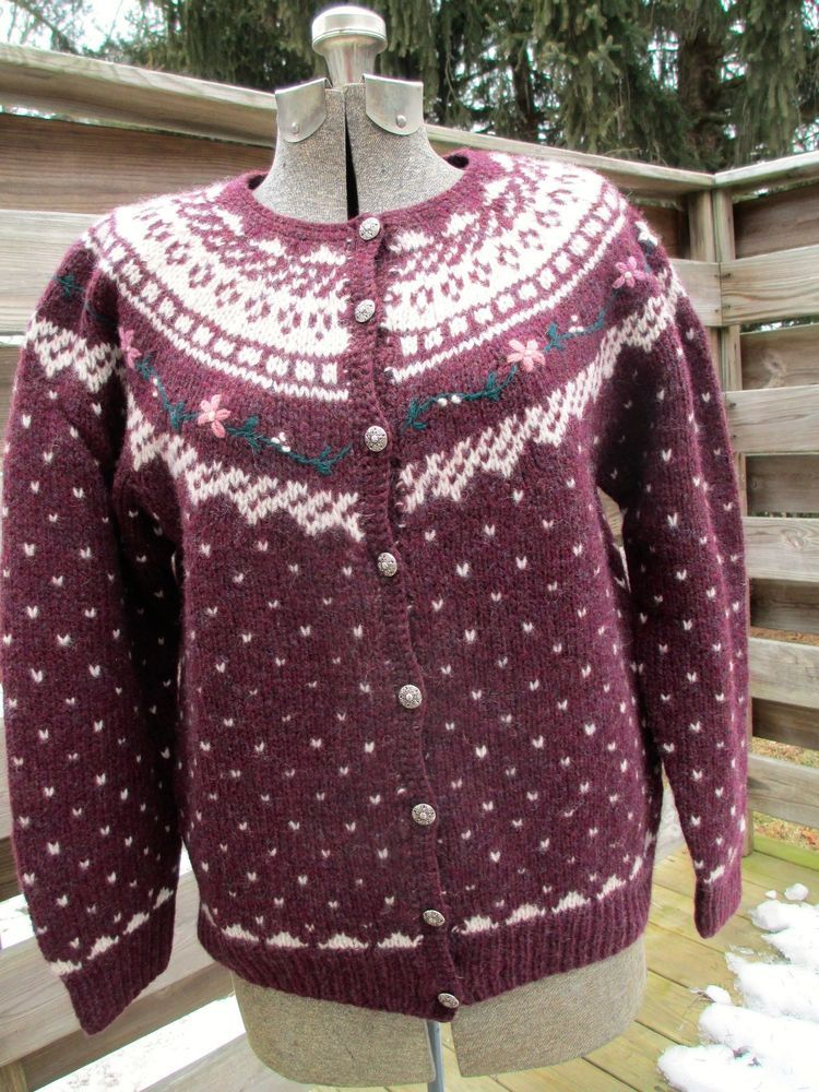 Dean's of Scotland Fair Isle 100% Wool Sweater Cardigan Burgundy ...